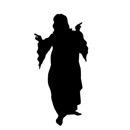catholicism: Vector silhouette of Jesus on white backgound.