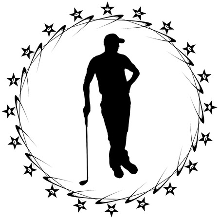 golf man: black and white sports golf man Illustration