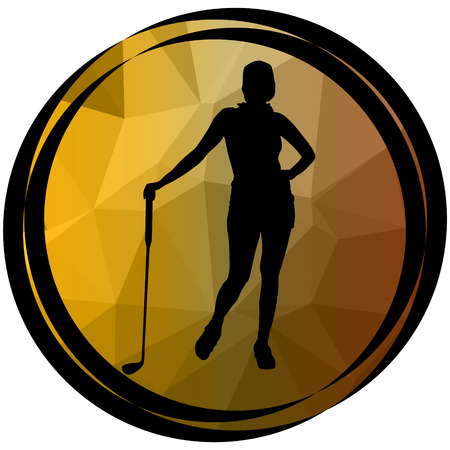 sports girl: sports icon girl with low poly background