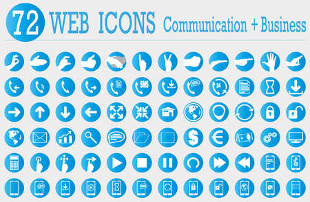 blue buttons: 72 web icons of communication and business Illustration