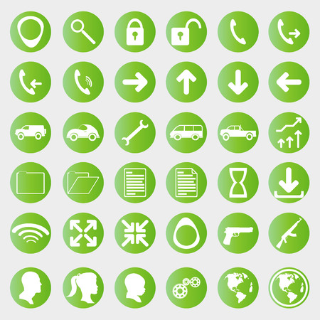 business communication: green web icons of communication and business