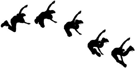 black men: Vector silhouette jumping man on white background