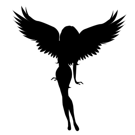 Vector silhouette of a woman with wings on a white background.