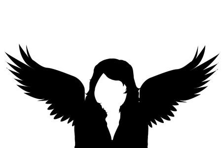 Vector silhouet van een vrouw met vleugels op een witte achtergrond.
