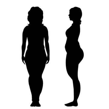 naked woman  white background: Vector silhouette of woman on white background.