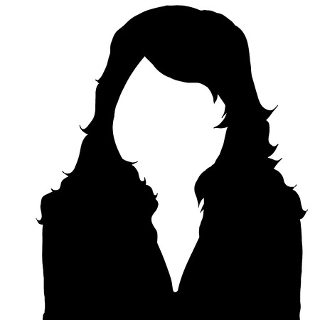 incognito: Vector silhouette of woman on white background.