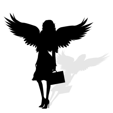 black: Vector silhouette of a woman with wings on a white background. Illustration