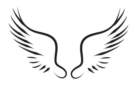 Vector silhouet van een vleugels op een witte achtergrond.