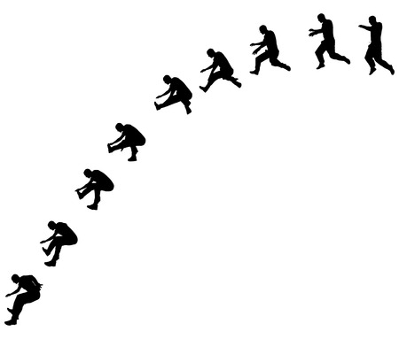 man jumping: Vector silhouette jumping man on white background