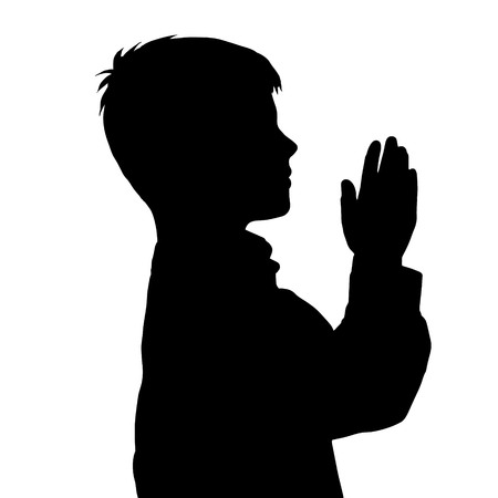 christian young: Vector silhouette of boy on white background.