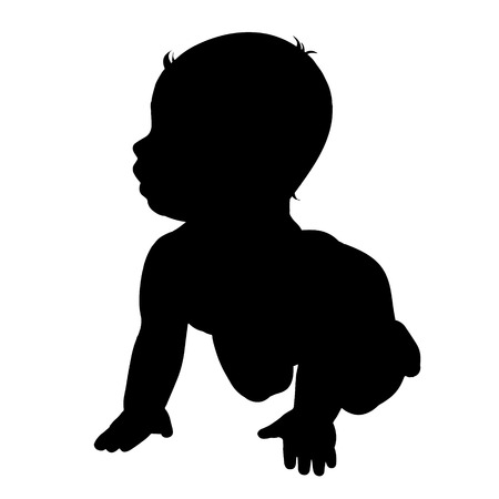 black baby boy: Vector silhouette of baby on white background. Illustration