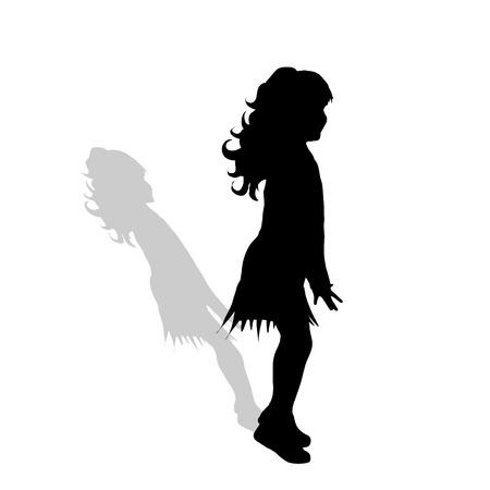 Vector silhouet van meisje op een witte achtergrond.