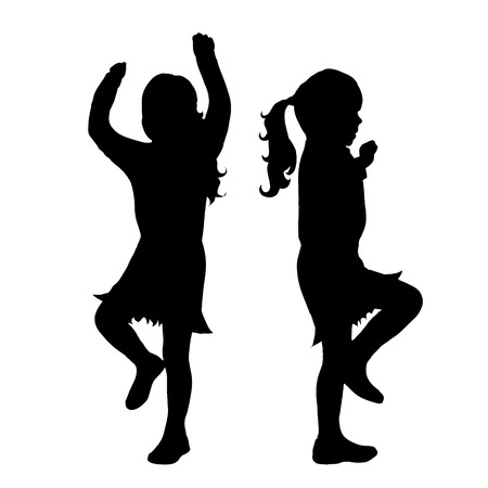 funy: Vector silhouette of girl on white background. Illustration
