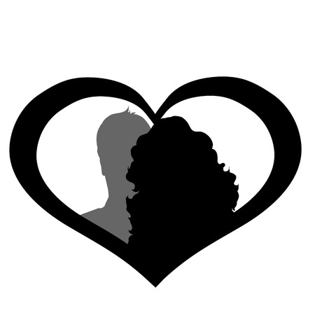 white bacground: Vector silhouette of couple on white bacground.