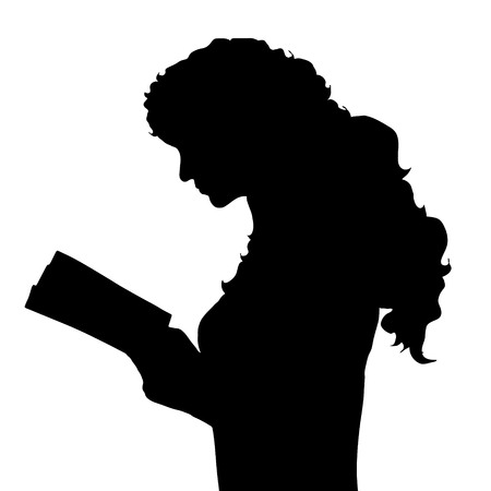 freetime: Vector silhouette of woman on white background.