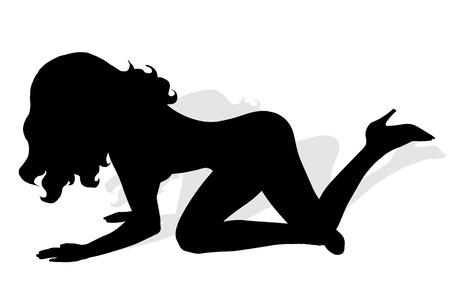 striptease: Vector silhouette of  girl on white background.