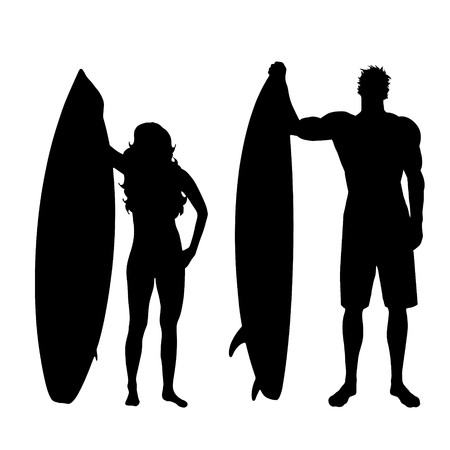 surfers: Vector silhouette of surfers on white background.