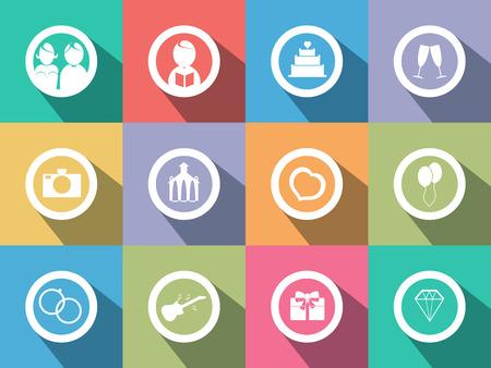 registrar: Flat design vector wedding icons on colored background