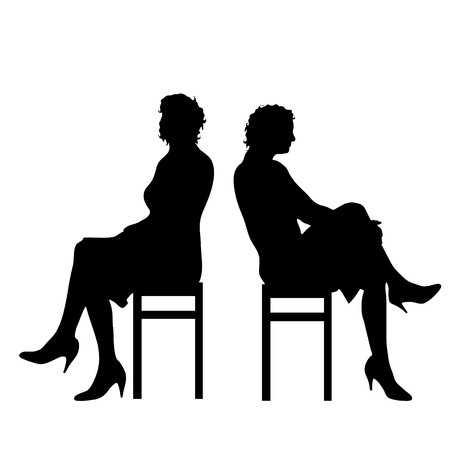 sexy young couple: Vector silhouette of woman on white background.