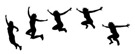 Vector silueta de la mujer que salta en el fondo blanco.