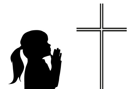 christian young: Vector praying girl with crucifix on white background
