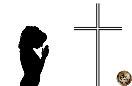 woman praying: Vector praying woman with crucifix on white background Illustration