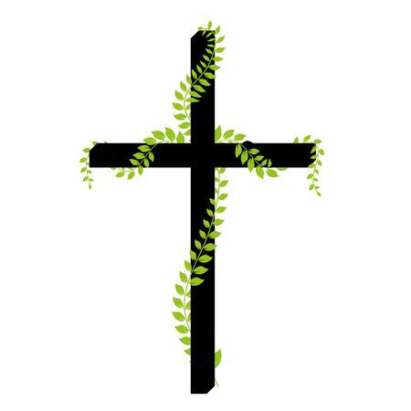 kruzifix: Vector Kruzifix mit Lorbeer auf wei�em Hintergrund Illustration