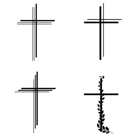 Los diferentes tipos de crucifijo en el fondo blanco Ilustración de vector