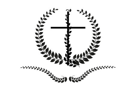 crucifix: Vector crucifix with laurel on white background