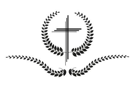 kruzifix: Vector Kruzifix mit Lorbeer auf weißem Hintergrund Illustration