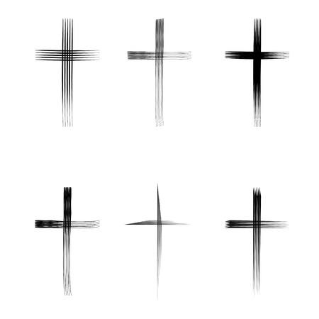 kruzifix: Verschiedene Arten von Kreuz auf weißem Hintergrund Illustration
