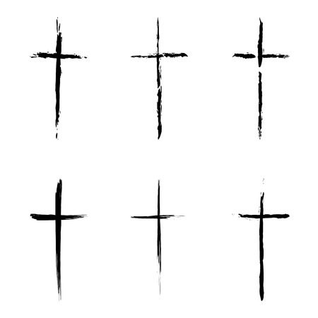 crucifix: Different types of crucifix on white background