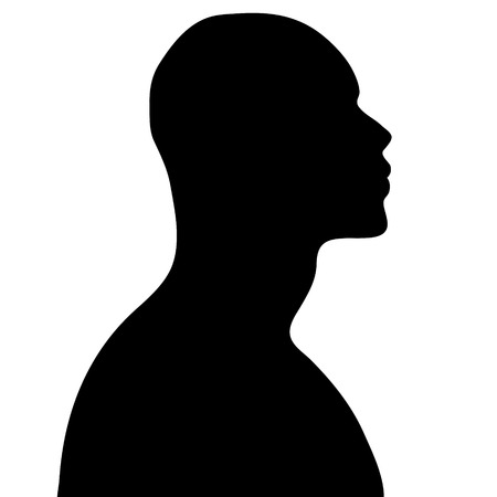 sexy male model: Vector silhouette of man on white background.