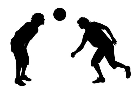balon de voley: Vector silhouette of man on white background.