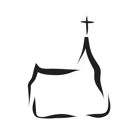 Vector silhouette of a church on a white background.