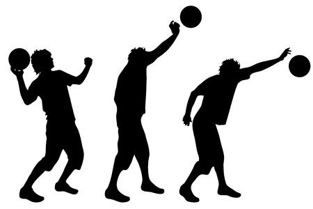 balon voleibol: Vector silueta de hombre sobre fondo blanco.