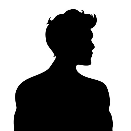 Vector silhouette of man on white background.