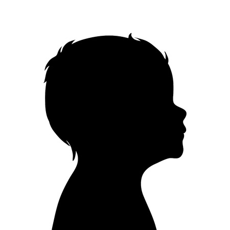 black baby boy: Vector silhouette of boy on white background.