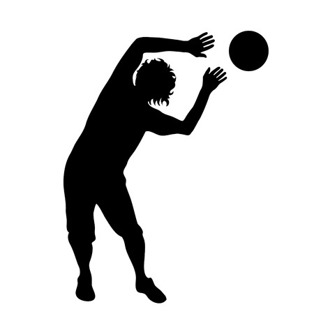 balon de voley: Vector silueta de hombre sobre fondo blanco.