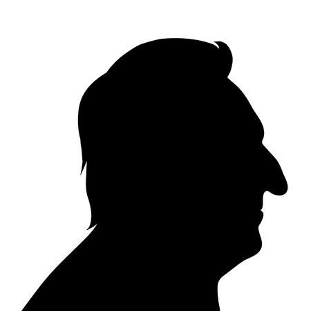 age old: Vector silhouette of man on white background.