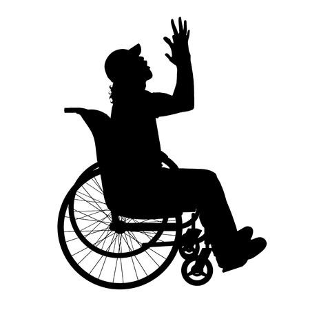 hopelessness: Vector silhouette of man on white background.
