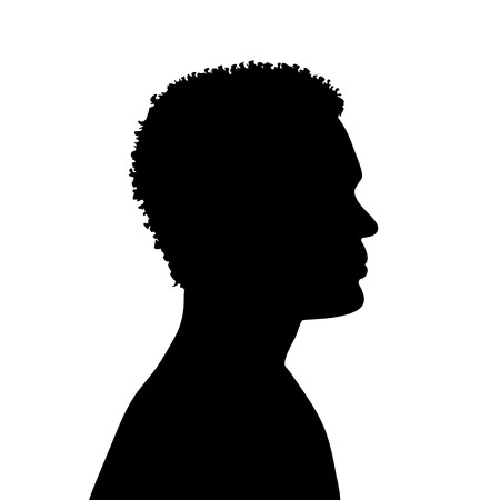 male face: Vector silhouette of man on white background.
