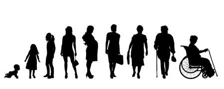 young group: Vector silhouette of a generation of people.