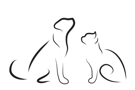 Vector illustration of cat and dog logo on a white background.