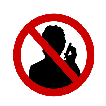 phone ban: Vector illustration of a ban on talking on a white background.