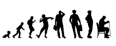 Vector silhouette of a generation of people.