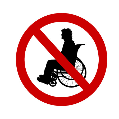 disabled access: Vector illustration ban wheelchairs on a white background.