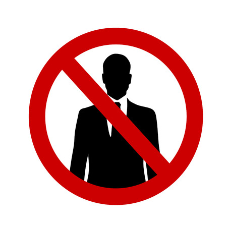 traders: Vector illustration of a ban on entry to traders on a white background.