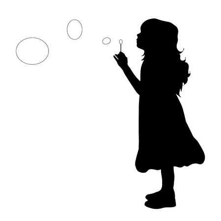 human face: Vector illustration of girl with bubble blower