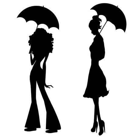 Black vector silhouette of girl with umbrella Illustration